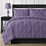 Dark Purple Comforter Sets Queen Comfy Bedding Double Needle Durable Stitching 3-Piece Pinch Pleat Comforter Set All Season Pintuck Style, Queen, Purple