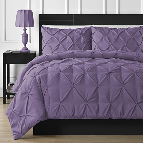 Double-Needle Durable Stitching Comfy Bedding 3-piece Pinch Pleat Comforter Set  (Queen, Purple)