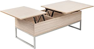 Lift Top Coffee Table Modern Furniture Hidden Compartment and Lift Tabletop Imitation Wood Grain Color