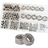 Hex Nuts Metric Coarse Thread nut Assortment Kit 304 Stainless Steel 210Pcs,M2 M2.5 M3 M4 M5 M6 M8 M10 M12