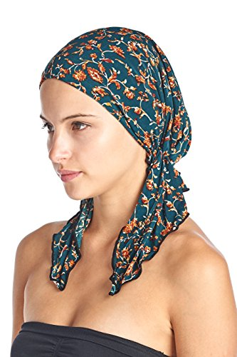 - Ashford & Brooks Women's Pretied Printed Fitted Headscarf Chemo Bandana - Teal Birds