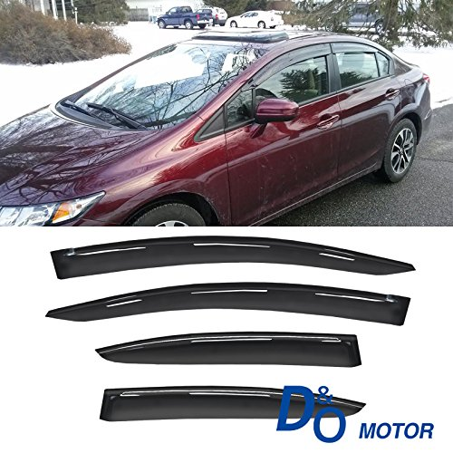 (VIOJI 4pc Fit 12-15 Honda Civic 4-Door Sedan Smoke Sun/Rain Guard Wind Deflector Vent Shade Window)