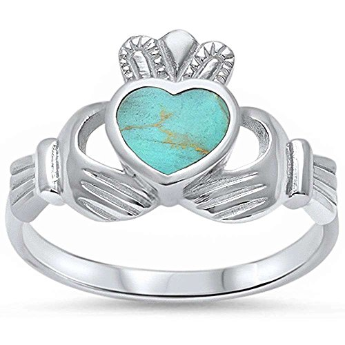Green Turquoise Heart Irish Claddagh .925 Sterling Silver Ring Sizes 8
