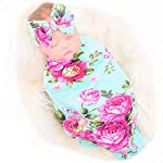 Galabloomer-Newborn-Receiving-Blanket-Headband-Set-Flower-Print-Baby-Swaddle-Receiving-Blankets-Green