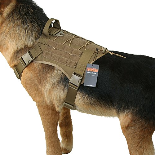 EXCELLENT ELITE SPANKER Tactical Service Dog Vest Training Hunting Molle Nylon Water-resistan Military Patrol Adjustable K9 Dog Harness with Handle(COB-XL)