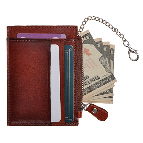 ZLYC Slim Leather Credit Card Case Holder Zipper Coin Wallet Pouch with Chain For Women & Men, Dark Brown