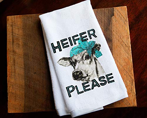 - Cow Funny Kitchen Towel Farm Home Decor Gift Heifer Please