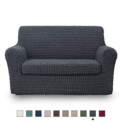 NICEEC Loveseat Slipcover Dark Grey Loveseat Full Cover 2 Piece Easy Fitted Sofa Couch Cover Universal High Stretch Durable Furniture Protector Love Seat Country Style (2 Seater Dark Gray) (Style Country Loveseats)