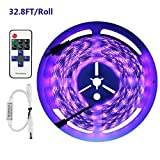 Exulight UV Blacklights LED Light Strip 2x5M/16.4ft 3528SMD Waterproof 600LED with 12V 4A Power Supply and RF Wireless Romote Control (Purple)