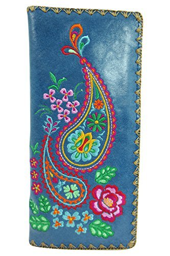 2e2ca42f0dc2 Lavishy Divine Paisley and Rose Embroidered Beautiful Large Wallet (Blue)