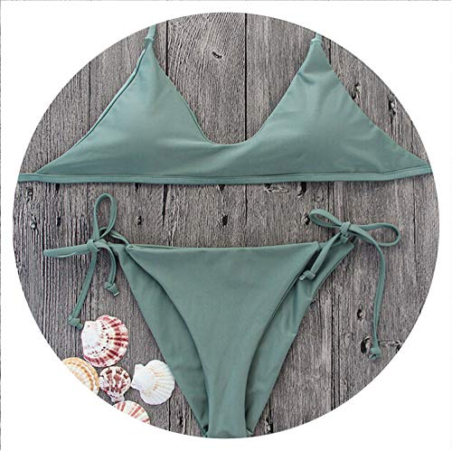 LQ21 Hirigin Women Bikinis Set Women Swimwear Push Up Padded Bra Swimsuits Bandage Army Green Bikinis,Army Green,L