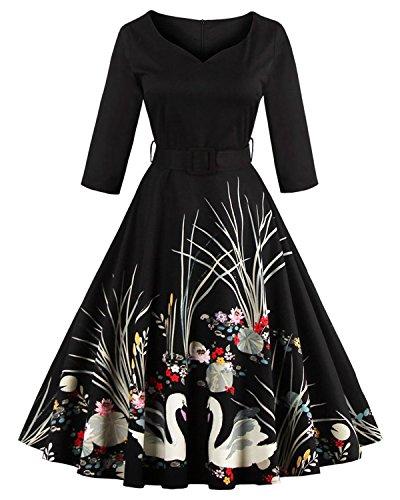 ZAFUL Women's 50s Vintage Floral V-Neck 3/4 Sleeve Swing Party Dresses with Belt (XL, Black)