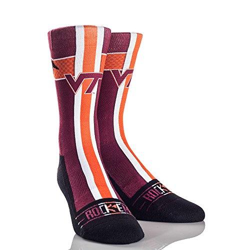 NCAA Virginia Tech Hokies Jersey Series University Custom Athletic Crew Socks, Small/Medium, Maroon