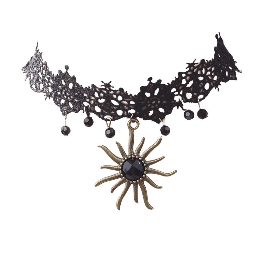 Women Summer Jewelry, Vinjeely Korean Necklace Lace Clavicle Chain Sun Gemstone Ornaments Choker