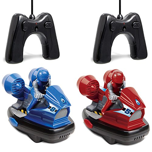 Sharper Image Set of Two Stunt Remote Control Bumper Cars with Drivers, 2.4Ghz Multiplayer Technology, Easy and Fun For Kids to Play, Battery-Operated - Red/Blue (Technology Red Race)