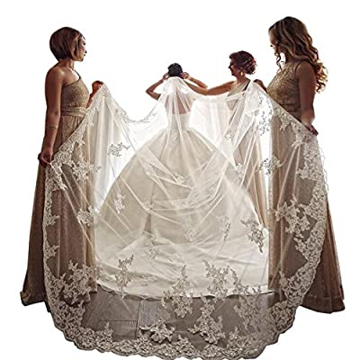 kelaixiang Elegant 1 Layer Lace Sequins Beaded Edge Bridal Wedding Veil with Comb