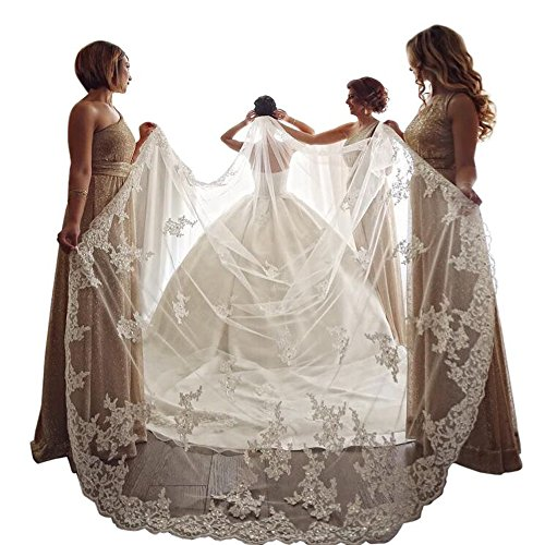 Kelaixiang Wedding Veils with Shinning Beads Sequins Cathedral Bridal Veils Comb (4M Length, White-Style2) ()
