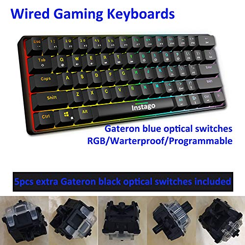 Mechanical Keyboard, Instago 61 Keys Optical Switch Multi-Color RGB Illuminated LED Backlit Wired Gaming Keyboard, IP67 Waterproof Wrist Rest, Ergonomic, Programmable, for PC Mac Gamer, Typist