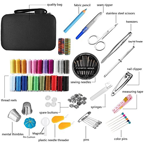 Sewing Project Kits - Aeifond Portable Basic Sewing Accessories for Home Travel, 24 Color Spools of Thread, Mini Sewing Kits Supplies for Beginners Emergency Family Adult Kids Girls to Mending Sewing