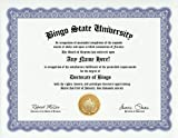 Bingo Degree: Custom Gag Diploma Doctorate Certificate (Funny Customized Joke Gift - Novelty Item)