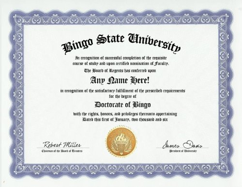 Bingo Degree: Custom Gag Diploma Doctorate Certificate (Funny Customized Joke Gift - Novelty Item) by GD Novelty Items