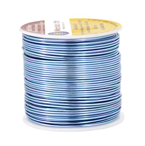 (Mandala Crafts Anodized Aluminum Wire for Sculpting, Armature, Jewelry Making, Gem Metal Wrap, Garden, Colored and Soft, 1 Roll(18 Gauge, Ice Blue))