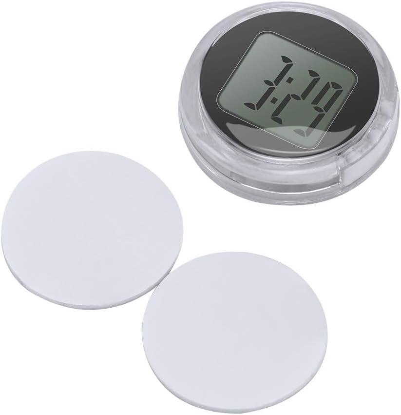 OurLeeme Mini Impermeable Stick-On Reloj de la Motocicleta Reloj de la Motocicleta Reloj Digital del Coche hasta 1 año Vida útil de la batería Dia. 1.1