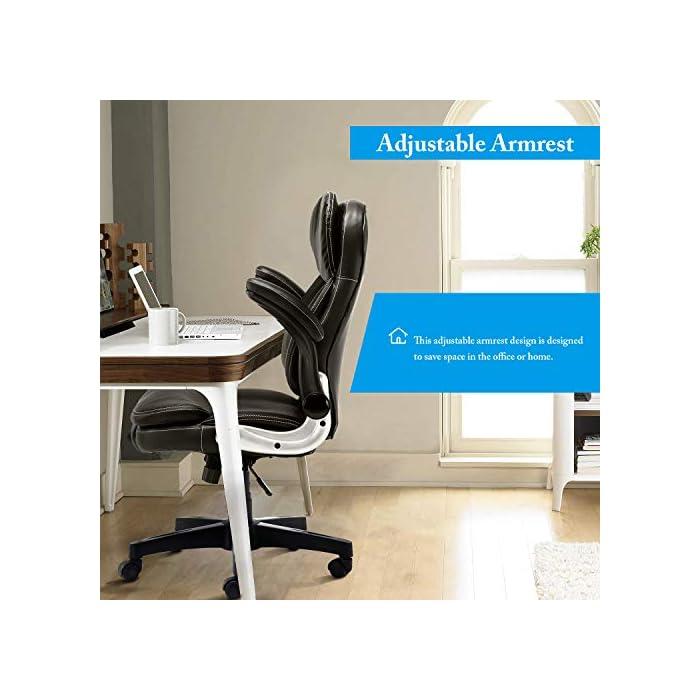 51yDUabdyUL Diseño ergonómico: el diseño del soporte lumbar y el reposacabezas de apoyo proporcionan un apoyo cómodo. Nuestro sillón te ofrece una gran comodidad elástica y un fuerte soporte de espalda. Alivia y reduce eficazmente el dolor de espalda Uso universal: nuestra silla clásica de cuero se adapta a varios tipos de oficina. El sillón de cuero tiene almohadillas de cojín y cojín de cuero acolchado negro, te hacen sentir cómodo y lleno de fuerza todo el día Cumple con las normas BIFMA: la funda de piel sintética respetuosa con el medio ambiente garantiza un uso a largo plazo. El elevador de gas y los reposabrazos cumplen con las normas BIFMA. Base de acero de cinco estrellas con un diámetro de 70 cm, garantiza una estabilidad general y muy robusta y duradera. Capacidad de peso de hasta 127 kg