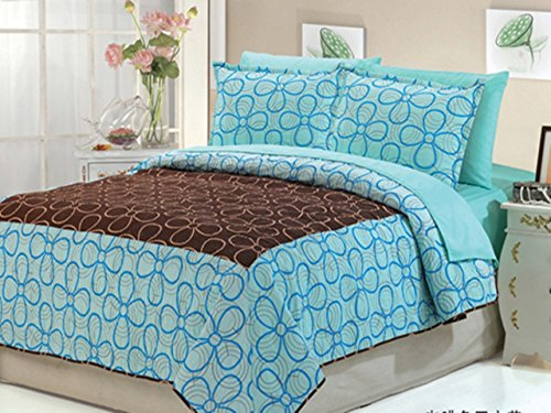 Dovedote Dovedote Cotton Daisy Dream Bedspread with Matching Sheet Set, KING, Mocha with Light Blue, 7 Piece (Cheap Bed Sets Comforters)