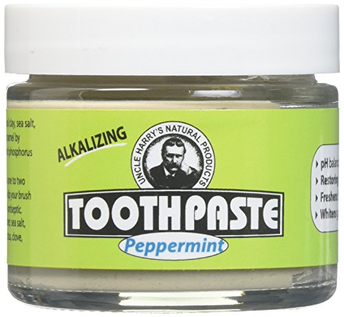 Uncle Harry's Fluoride Free Toothpaste - Peppermint (3 oz Glass jar) … (4) by Uncle Harry's Natural Products