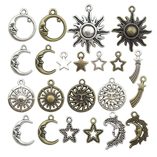 100g (about 80pcs) Craft Supplies Celestial Collection Charms Pendants for Crafting, Jewelry Findings Making Accessory For DIY Necklace Bracelet (sun moon star charms)