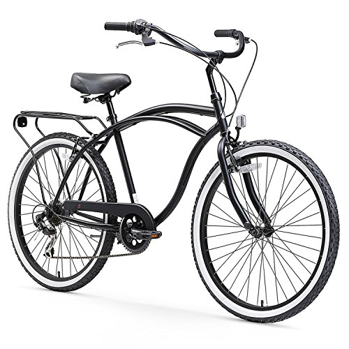 sixthreezero Around The Block Men's 7-Speed Cruiser Bicycle, Matte Black w/ Black Seat/Grips, 26