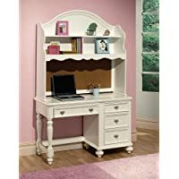 Athena collection white finish wood childrens desk and hutch