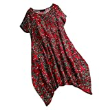 2019 New Women's Floral Print Dress Causal Short Sleeve O-Neck Mini Summer Loose Dresses (Red, XXL)