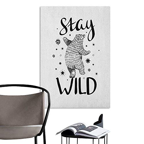 Wall Mural Wallpaper Stickers Bear Dancing Bear in Hand Drawn Style with Cute Little Stars Stay Wild Inspirational Quote Black White Warm and Romantic W24 x H36 ()