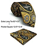 Shlax&Wing Paisley Mens Neckties Grey Yellow Tie For Men Unique Business 57.5'' 63'' Long