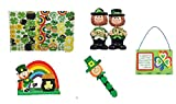 Craft Kit Gift Set St. Patrick's Day Leprechaun, Self Adhesive Shapes, Shamrock Bookmark Kit, Irish Blessing Sign, Set of 2 Polyresin Leprechaun Bobbleheads Figurine 6pc Bundle