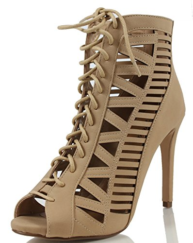Women's Tinley Peep Toe Cut Out Corset Lace Up Stiletto Heel Dress Sandal, Natural, 75 M US