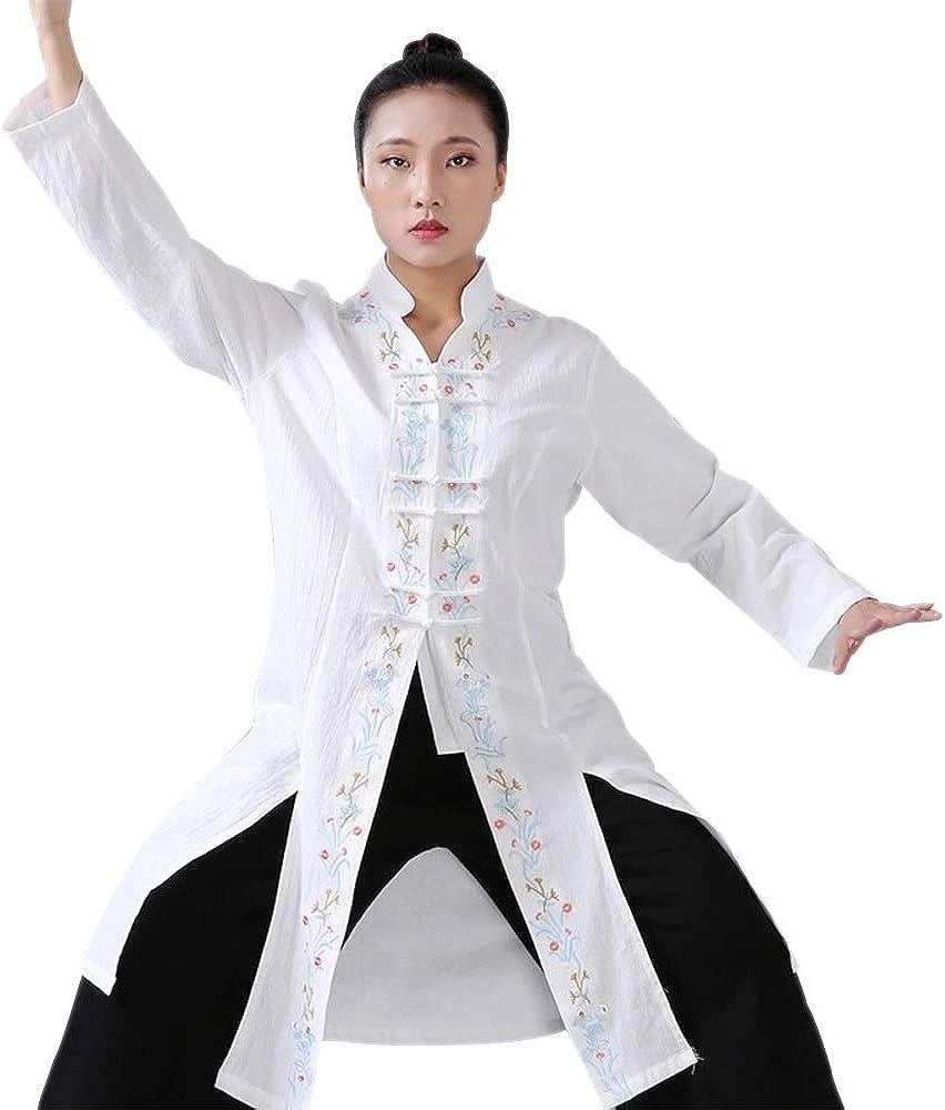 KINDOYO Arts Martiaux V/êtements Femmes Wing Chun Chinois Traditionnel Floral Brod/é Confortable Shaolin Formation V/êtements Hauts