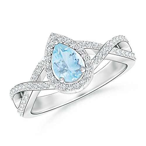 Twist Shank Pear Shaped Aquamarine Ring with Diamond Halo in 14K White - Ring Shank Twist