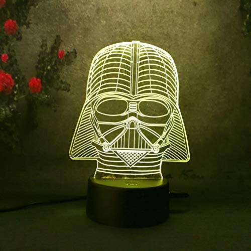 Amore Star Wars Darth Vader-3D LED Night Light -7 Color Change - Remote Control Kids Night Light Bedroom Lamp Desk Table Lamp Kids Toys Decoration Party Birthday Gifts