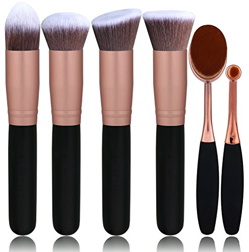 BS-MALL Face Foundation Powder Liquid Cream Oval Makeup Brushes Set Synthetic Makeup brushes(Pack of 6) ()