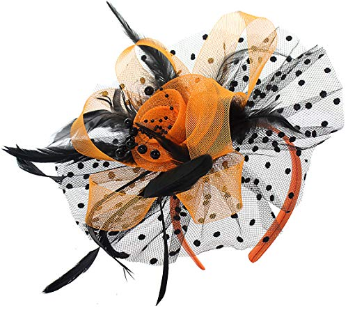 Feather Fascinators Tea Party Cocktail Headwear Wedding Hats Kentucky Derby Headband Flower Veil Hats for Women Hat Hair Clip(Orange and Black) -