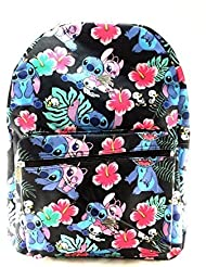 Disney Lilo and Stitch Allover Print Black 16 Girls Large School Backpack-black