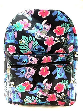 Little Angel Kids Backpack - Disney Lilo and Stitch Allover Print Black 16