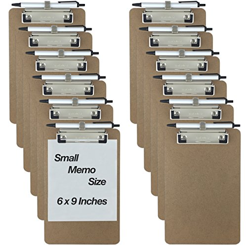 Trade Quest Pen Holder Memo Clipboards 6'' x 9'' (12 - Pack) (Pen Included) -