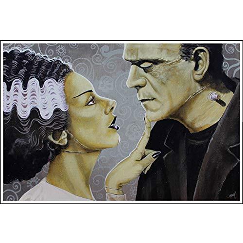 Flirtationship by Mike Bell Bride of Frankenstein Monster Lovers Wall Art Print