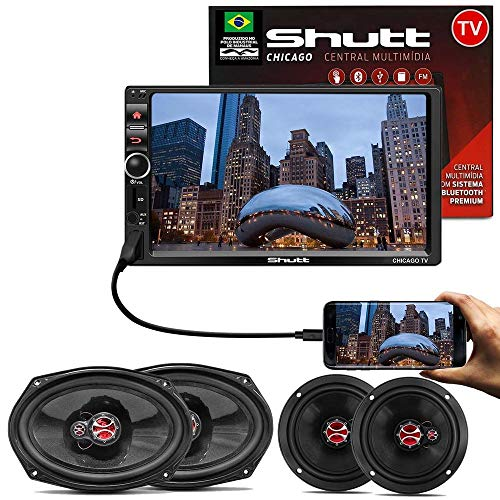Kit Central Multimídia Shutt Chicago TV 7 Pol Led Bluetooth Tv Digital Touch USB + Kit Fácil Foxer