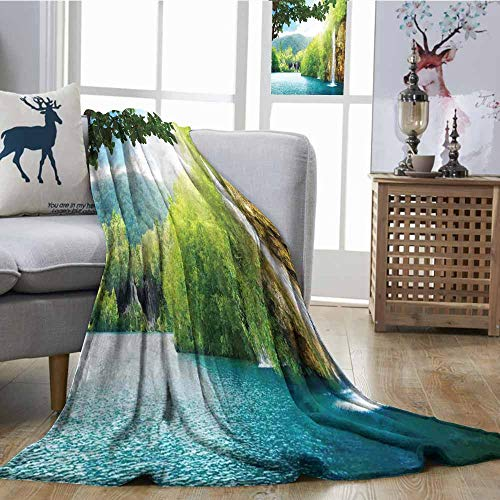 SONGDAYONE Warm Blanket Waterfall Easy to Carry Croatian Lake Landscape in Forest with Mountain View Background Work of Art Green and Blue W60 xL80