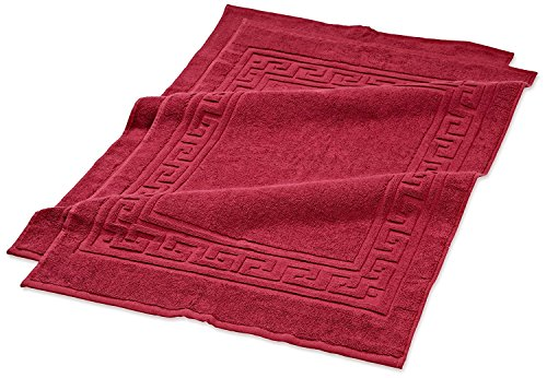Superior Hotel & Spa Quality Bath Mat Set of 2, Made of 100% Premium Long-Staple Combed Cotton, Durable and Washable Bathroom Mat 2-Pack - Burgundy, 22 x 35 each